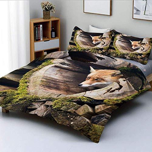 Juego de funda nórdica, Forest Nature Wild Fox con ojos color avellana en un árbol tallado de madera con musgo Lámina decorativa Juego de cama de 3 piezas con 2 fundas de almohada, multicolor, el mejo