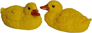 SIGMALL Floating Pond Decor, 2 Yellow Pool Water Floating Ducks, Artificial Resin Decoy, Baby Duck Statues for Lawn Home Outdoor Garden Decoration Desk Shelf Table Ornament Art