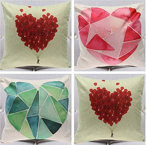 JgZATOA Geometry Love Heart CushionCoverPillowCaseLivingRoomSofaCouchBedPillowcasesOfficeCushion45CmX45CmSetOf4