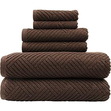 LUNASIDUS Smyrna Basket Weave Design 100-percent Luxury Turkish Cotton 6-Piece Towel Set, 600g, Chocolate