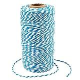G2PLUS 100M See Blau & Weiß Baumwolle Schnur, Bäcker Bindfäden Bastelschnur Dekokordel Schnur Ideal für DIY Kunstgewerbe Gartenarbeit