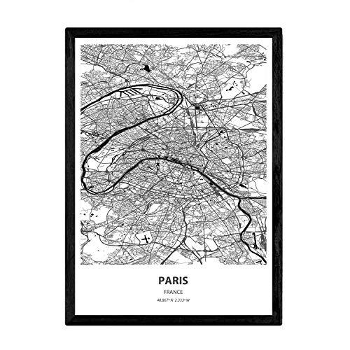 Nacnic Poster con Mapa de Paris - Francia. Láminas de Ciudades de Francia con Mares y ríos en Color Negro. Tamaño A3 con Marco
