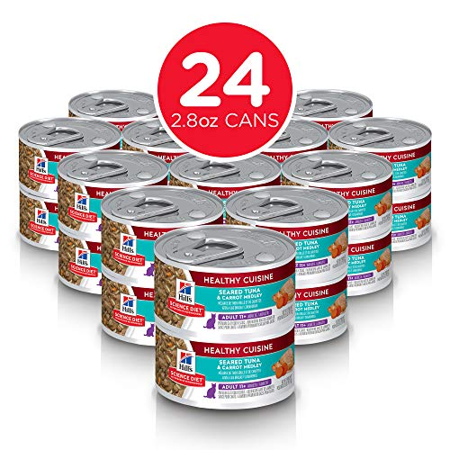 Hills Science Diet Wet Cat Food, Adult 11+ for Senior Cats, Healthy Cuisine, Seared Tuna & Carrot Recipe, 2.8 oz Cans, 24-pack