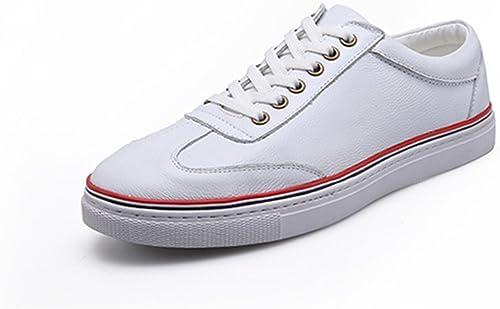 RENMEN Frühling Sommer Herren Leder Weiß Schuhe Turnschuhe Paar Freizeitschuhe Herren Weiß Schuhe Trend Damenschuhe 35-43, rot Weiß