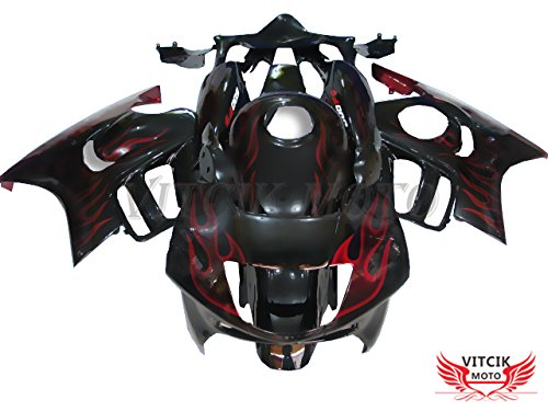 VITCIK (Fairing Kits Fit for Honda CBR600F3 CBR600F 1997 1998 CBR 600 F3 97 98) Plastic ABS Injection Mold Complete Motorcycle Body Aftermarket Bodywork Frame (Black & Red) A001