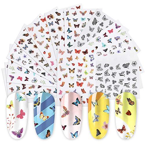 ZOYLINK 14 Blatt Schmetterling Nagel Aufkleber Kleber Wunderschöne Schmetterling Nagel Kunst Aufkleber Mode Dynamic Style Maniküre Aufkleber Für DIY Nagel Mädchen Date