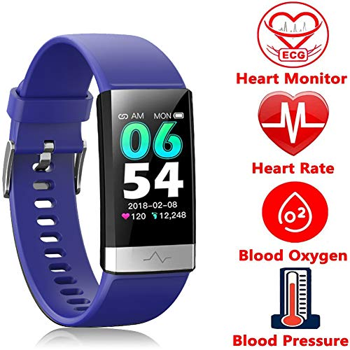 Fitness Tracker, Activity Tracker Watch with Heart Rate MonitorSleep Monitor Blood PressureCall Reminder,IP68 Waterproof Smart Band with Calorie Counter,Pedometer for Kids Men Women and Gift (Blue) Activity Features Fitness Sports Trackers