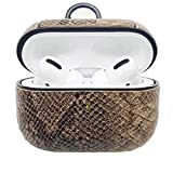 Seadream Snake Skin Pattern Shock Absorbent PC Texture PU Leather Skin with Keychain Compatible for AirPods Pro Case (Khaki)