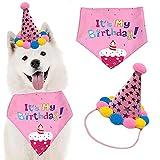 Sombrero Bandana cumpleaños Perro, Sombrero Cumpleaños Perros, Pañuelo Cumpleaños Sombrero Fiesta, Cachorro decoración de cumpleaños, para Fuentes la Fiesta Cumpleaños de los Cachorros (Rosa)