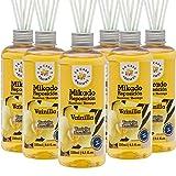 La Casa de los Aromas, Set de 6 x 250ml Ambientadores Mikado Vainilla para Reposición con Varillas, Difusor Líquido de Aroma Vainilla, Perfume Duradero para el Hogar, Baño, Casa