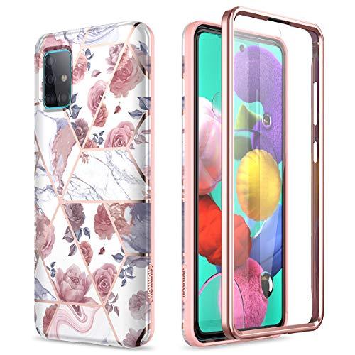 SURITCH Kompatibel mit Samsung A51 4G Hülle Silikon Hüllen mit Integriertem Displayschutz 360 Grad Bumper Stossfest Handyhülle Schutzhülle für Samsung Galaxy A51 4G (Rose)