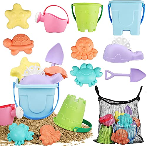 TOY Life Beach Sand Toys for Kids - Toddler Girl Beach Toys Includes Sand Buckets, Beach Shovel, Animal Molds, Water Wheel, Water Can, Sandbox Toys Beach Bucket and Shovel Set with Bonus Carrying Net