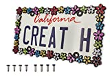 creathome 3D Shining Daisy Wrenth License Plate Frame from Pure Zinc Alloy Metal Perfect Plate Holder, Matt Black with Colorful Glitter