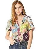 Allegra K Camisa Estampada con Hojas Florales Hawaianas Manga Corta Botón Abajo Vintage Blusa Top Playa para Mujeres Rosa S