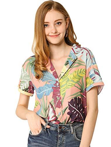 Allegra K Camisa Estampada con Hojas Florales Hawaianas Manga Corta Botón Abajo Vintage Blusa Top...