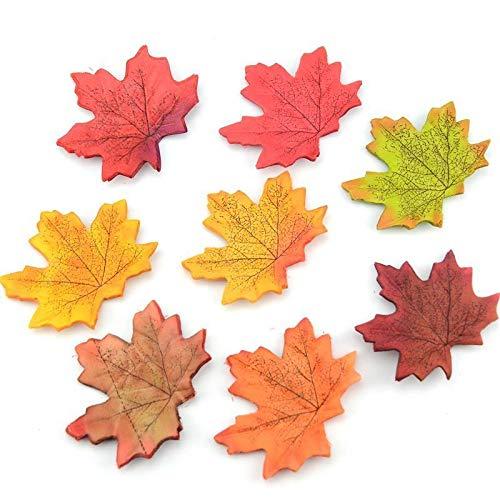 Lorigun 200 Piezas de Hojas de Arce Artificiales Hojas de otoño Hojas para decoración de otoño Imitación Mixta Multicolor Hojas de otoño para guirnaldas Decoraciones de Casas de Bodas