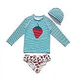 Bonverano - Conjunto de traje de baño para niña de dos piezas, de manga corta (L/K), protección UV 50+ Gft06 4 años