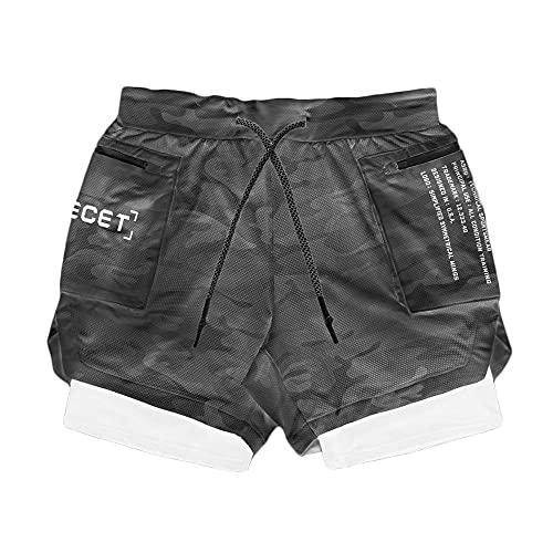 Shorts Pantalones Cortos Hombres Pantalones Cortos para Correr 2 En 1 para Hombre, Gimnasio, Fitness, Doble Capa, Pantalones Cortos De Secado Rápido, Pantalones Cortos para Entrenamiento De Balon