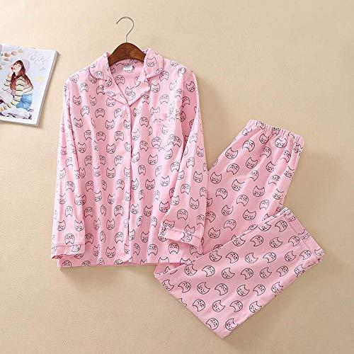 Handaxian Niedliche rosa Ente Pyjama aus 100% Baumwolle Anzug Frau niedlichen Langarm Pyjama Muji Winter gebürstete Baumwolle warme Home Pyjamas-PH-003_S