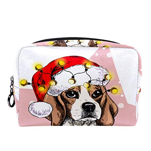 Makeup Bag Portable Travel,Santa hat Lights Garland Dog Snow,Cosmetic Bag for Women,Beauty Zipper Makeup Organizer Bag