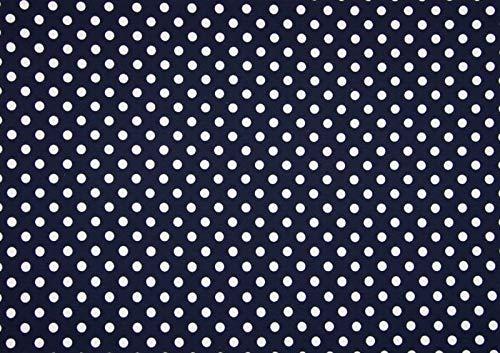 Qualitativ hochwertiger Jersey Stoff mit großen weißen Punkten auf Marine als Meterware zum Nähen von Baby, Kinder und Erwachsenenkleidung, 50 cm