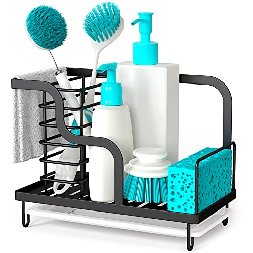 FavoThings Kitchen Sink Caddy Organizer with Drain Pan, 304 Stainless Steel, for Sponges, Scrubbers, Soap, Kitchen, Bathroom, Black [2021 New Version]