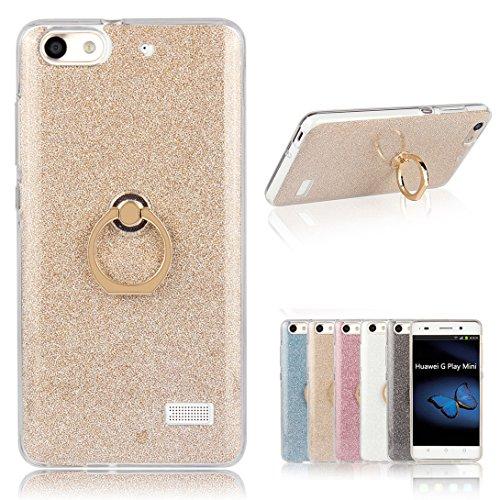 Pheant Für Huawei G Play Mini/Honor 4C Hülle, Schutzhülle mit Ständer Ring [Durchsichtige Handyhülle + Glitzer Papier in Gold]