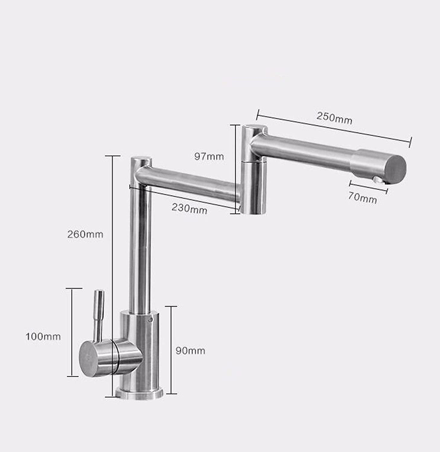 NewBorn Faucet Kitchen Bathroom Sink Mixer Tap Dish Washing Basin To redate The Dish Basin Sink Mixer 304 Stainless Steel Water Tap Hot Cold Single Cold C