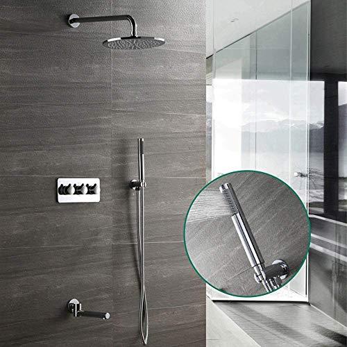 Jkckha ahorro de agua Temperatura constante Set de ducha Dentro de la pared de la ducha Conjunto 25cm Round Top aerosol de la ducha Sistema de cobre grifo de la ducha 2 Modos de plata de suministro de