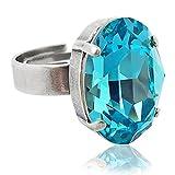 nobel-schmuck Ring mit Kristall von Swarovski® Silber Türkis
