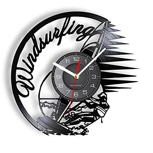 LIMN Reloj de Pared Velero Windsurf Disco de Vinilo Reloj de Pared Superficie de navegación Arte acuático Artesanía Arte Pop Navegación y navegación Artesanía Decoración