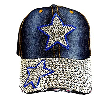 Bling Baseball Cap Hat – 100% Cotton Denim – Embellished with Crystal Rhinestones and Faux Gemstones – Features an Adjustable Buckle – Comfortable and Breathable  Blue Star