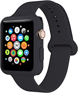 Soft Silicone Watch Band - Adjustable Wristband Watchband Wrist Straps Sport Band with Case Cover, 38mm 40mm 42mm 44mm, Compatible with Apple Watch Series 1/2/3/4/5, Black, 42mm M/L