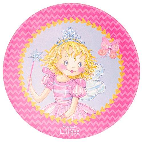 Prinzessin Lillifee Kinderteppich Weich und Soft für Mädchen, Größe Ø100 cm Rund, Farbe Pink, Öko-Tex zertifiziert für Kinderzimmer und Babyzimmer