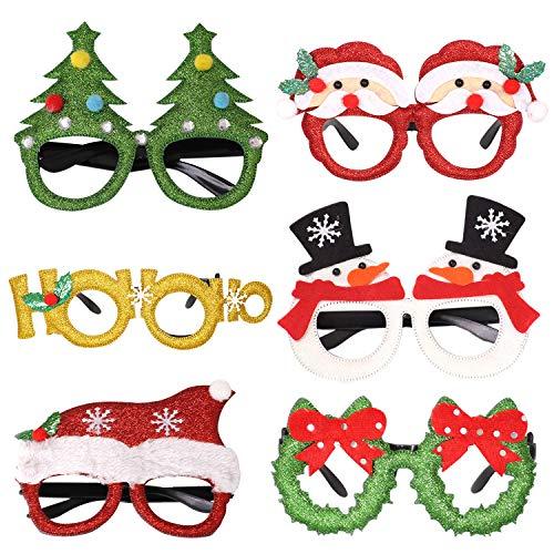 Petalum Weihnachten Deko Brille Lustig Glitzer Cosplay Brille Rahmen Glasses Party Karneval Foto Requisten Weihnachtsbaum Schneemann Rentier Brille (Mix Brille Set, 6PCS)