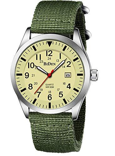 Herren Uhr Analog Quarz Herrenuhr mit Nylon Armband 3ATM Wasserdicht Uhren Männer Sport Militär Leuchtend mit Datum -Gelbe Uhr