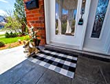 Outdoor Porch Rug - Checkered Door Mat for Layering, Black and White Rug - Outdoor Buffalo Check Door Mat Buffalo Plaid Doormat, Black and White Door Mat - Front Doormat Rug, Door Mats Outside