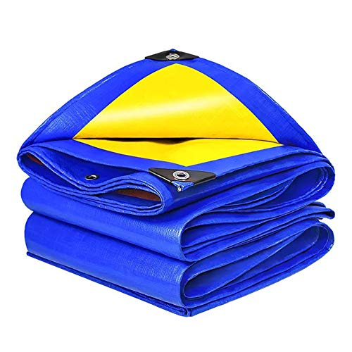 JTYX Tarpaulin Waterproof Heavy Duty Universal Blue Yellow Tarp Sheet Premium Quality Tarpaulin Furniture Cover for Camping Fishing Gardening