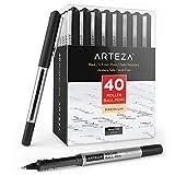 Arteza Bolígrafos de tinta de gel | Paquete de 40 | Color negro | Punta fina de 0,5 mm | Bolígrafos de gel para escritura, tomar notas, diarios personales y dibujo