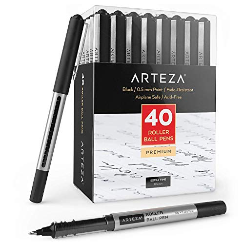 Arteza Rollerball Pens, Pack of 40, 0.5mm Black Liquid Ink Pens for Bullet Journaling, Fine Point Rollerball, Office Supplies for Writing, Taking Notes & Sketching