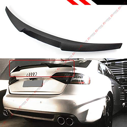 Cuztom Tuning V Style Highkick Duckbill Carbon Fiber Trunk Lid Spoiler Wing Compatible for 2013-2016 Audi A4 B8.5 Facelift