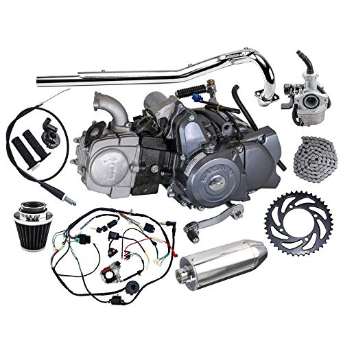 Fuerduo Complete set of Lifan 125cc Engine Semi-Auto 4 Stroke Motor with Wiring Harness Carburetor Chain Sprocket Exhaust Muffler Pipe for Trail Bike CT70 90 110 125 Dirt Bike Trike