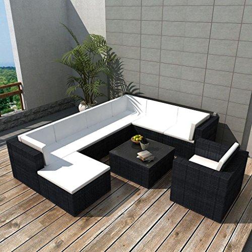 furnituredeals Ensemble canapés de jardin 27 pièces en polyrotin modulaire Noir.Ce lot de haute qualité sont robuste et résistant.Idéal pour jardins et extérieur