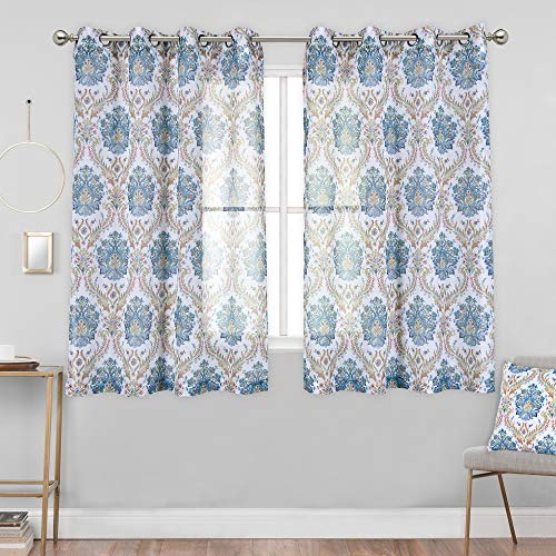 KEQIAOSUOCAI Abstract Floral Faux Linen Semi-Sheer Curtains for Bedroom - Yellow and Green Damask Medallion Printing Curtain Panels for Living Room(52 Wx63 L,2 Panels)