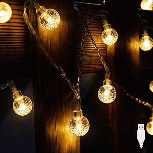 MATEPROX Globus Zeichenfolge Gartenleuchten, 19.68 ft 40 LEDs im Freien Lichterketten mit USB-Anschluss, Kristall Ball Lichterkette Wasserdichtes Hängende Deko Lichter