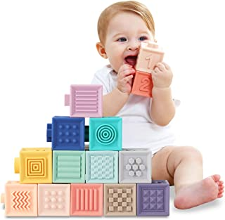 Baby Blocks Soft Building Blocks Baby Toys Teethers Toy Educational Squeeze Play with Numbers Animals Shapes Textures 6 Mo...