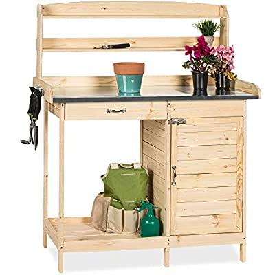 Best Choice Products Outdoor Garden Wooden Potting Bench Work Station w/Metal Tabletop, Cabinet - Natural