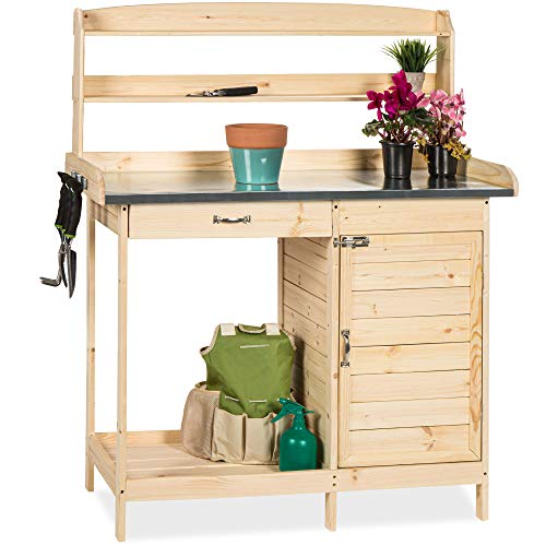Best Choice Products Outdoor Garden Wooden Potting Bench Work Station w/Metal Table Top, Cabinet, Sliding Drawer, and Large Bottom Shelf, Natural