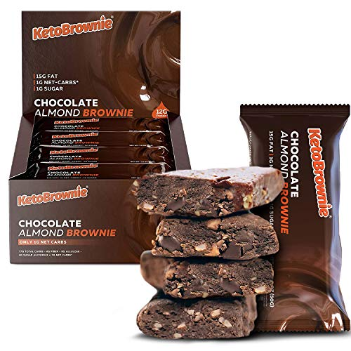 KetoBrownie Bars (12-Count)   Deliciously Baked Soft & Chewy   15g Healthy Fats   1g Net-Carb Keto Bars   1g Sugar   Meal Replacement Bars (Chocolate Almond)