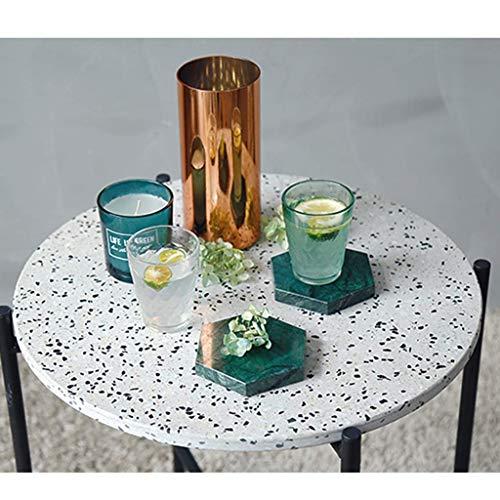 ZXL Haushalts Multifunktionale Kleine Tisch-Couchtisch Nordic Minimalist Kreative Runde, Terrazzo Schmiedeeisen Kombination Wohnzimmer Kleine Wohnung runde Beistelltisch,Weiß